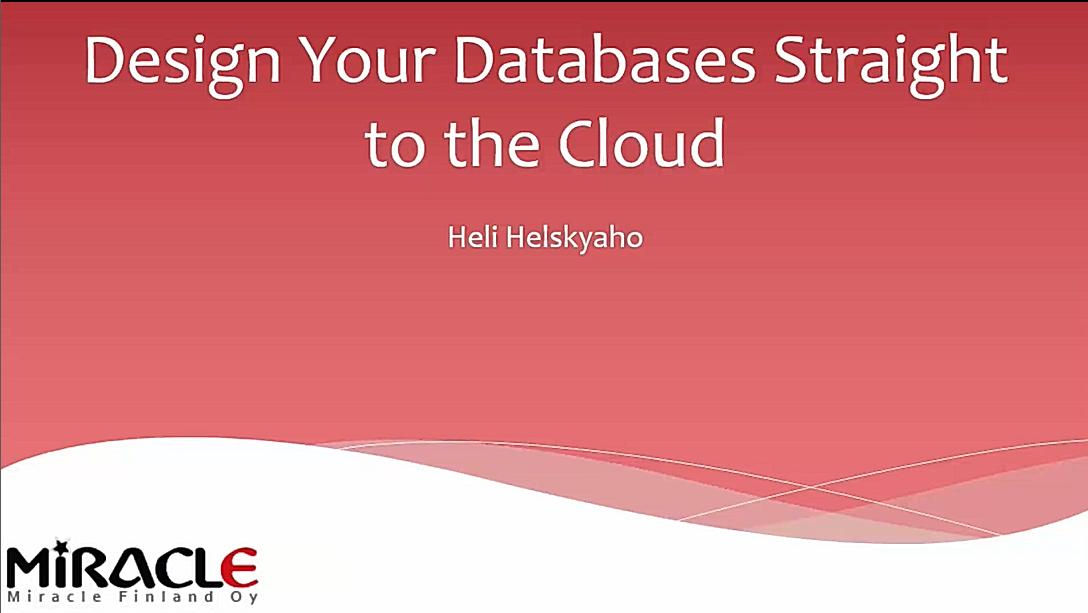 Design Your Databases straight to the Cloud
