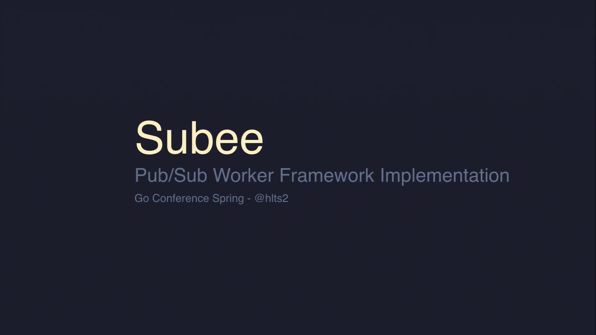 Subee Pub/Sub Worker Framework Implementation